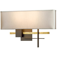 Hubbardton Forge 206350-1008 Cosmo 2 Light 17 inch Bronze with Brass Accent ADA Sconce Wall Light in Flax