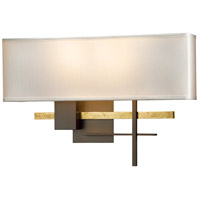 Hubbardton Forge 206350-1009 Cosmo 2 Light 17 inch Bronze with Brass Accent ADA Sconce Wall Light in Natural Anna