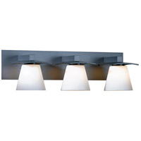 Hubbardton Forge 206603-1012 Wren 3 Light 24 inch Burnished Steel Sconce Wall Light in Opal Incandescent