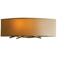 Hubbardton Forge 207660-1015 Brindille 2 Light 16 inch Burnished Steel ADA Sconce Wall Light in Doeskin Suede