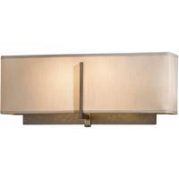 Hubbardton Forge 207680-1013 Exos 2 Light Dark Smoke ADA Sconce Wall Light in Flax Square