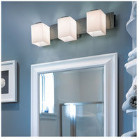 Hubbardton Forge 207843-1011 Impressions 3 Light 28 inch Burnished Steel Sconce Wall Light in Pearl