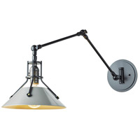 Hubbardton Forge 209320-1108 Henry 1 Light 9 inch Black with Black Accent Sconce Wall Light