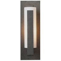 Hubbardton Forge 217185-1015 Vertical Bar 1 Light 5 inch Natural Iron ADA Sconce Wall Light in Opal Incandescent
