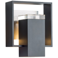 Hubbardton Forge 302601-1060 Shadow Box 1 Light 9 inch Black with Coastal Burnished Steel Accent Outdoor Sconce Small