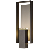 Hubbardton Forge 302605-1030 Shadow Box 2 Light 21 inch Black with Coastal Burnished Steel Accent Outdoor Sconce Large