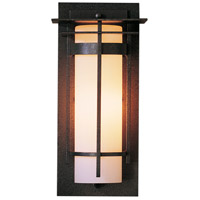 Hubbardton Forge 305992-1021 Banded 1 Light 13 inch Coastal Bronze Outdoor Sconce, Small with Top Plate