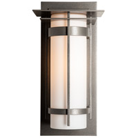 Hubbardton Forge 305993-1015 Banded 1 Light 16 inch Natural Iron Outdoor Sconce with Top Plate