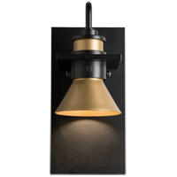 Hubbardton Forge 307716-1002 Erlenmeyer 1 Light 11 inch Coastal Black with Coastal Gold Outdoor Sconce
