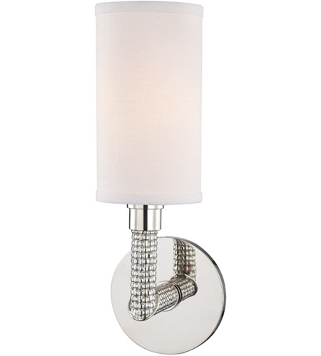 Hudson Valley 1021-PN Dubois 1 Light 5 inch Polished Nickel Wall Sconce Wall Light, Off-White Linen