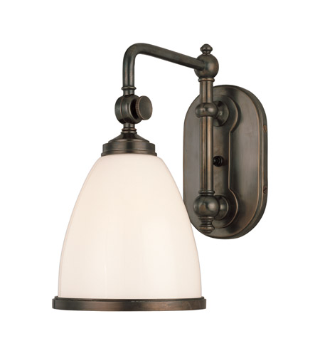 Hudson Valley 1428-OB Somerset 1 Light 7 inch Old Bronze Wall Sconce Wall Light in Opal Glossy Glass photo