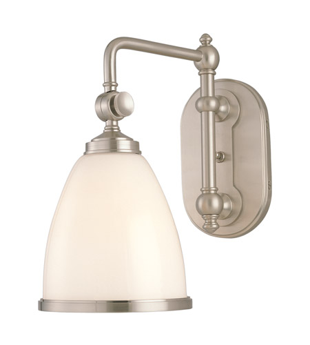 Hudson Valley 1428-SN Somerset 1 Light 7 inch Satin Nickel Wall Sconce Wall Light in Opal Glossy Glass photo