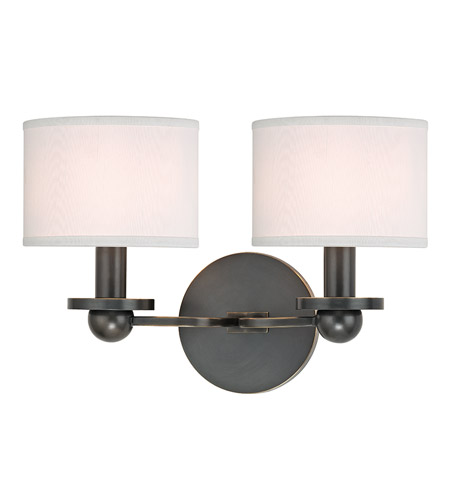 Hudson Valley 1512-OB-WS Kirkwood 2 Light 13 inch Old Bronze Wall Sconce Wall Light in White Faux Silk photo