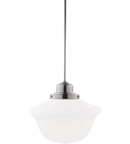 Hudson Valley Lighting Edison 1 Light Pendant in Satin Nickel with Opal Glass Shade 19-SN-1612 photo