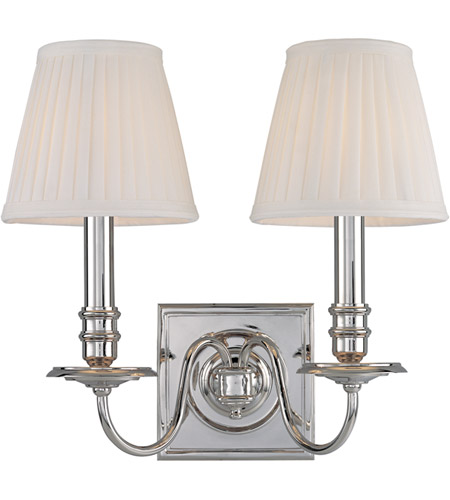 Hudson Valley 202-PN Sheldrake 2 Light 13 inch Polished Nickel Wall Sconce Wall Light photo thumbnail
