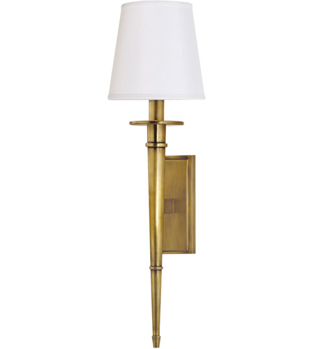 Hudson Valley 220-AGB-WS Stanford 1 Light 6 inch Aged Brass Wall Sconce Wall Light in White Faux Silk photo