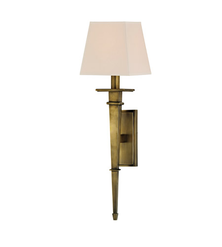 Hudson Valley 230-AGB Stanford 1 Light 6 inch Aged Brass Wall Sconce Wall Light in Eco Paper photo