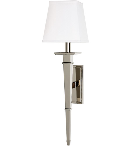 Hudson Valley 230 Pn Ws Stanford 1 Light 6 Inch Polished Nickel Wall Sconce In White Faux Silk