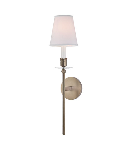 Hudson Valley 261-BB-WS Urbana 1 Light 6 inch Brushed Bronze Wall Sconce Wall Light in White Faux Silk photo