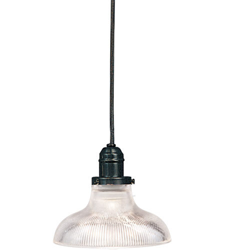 Hudson Valley Lighting Vintage 1 Light Pendant in Old Bronze with Ribbed Clear Glass Shade 3101-OB-R08 photo