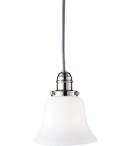 Hudson Valley Lighting Vintage 1 Light Pendant in Polished Nickel with Opal Glass Shade 3101-PN-341 photo