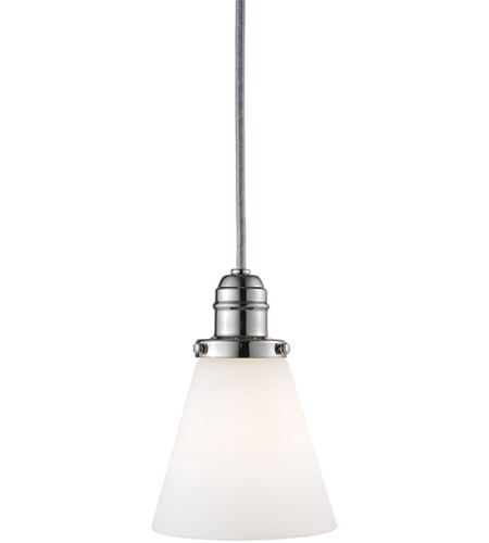 Hudson Valley 3101-PN-505M Vintage 1 Light 5 inch Polished Nickel Pendant Ceiling Light in Opal Glass, 505M photo