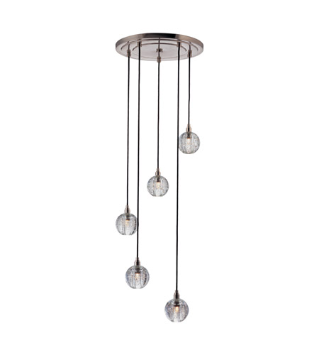 Hudson Valley Lighting Naples 1 Light Pendant in Satin Nickel with Black Cord 3515-SN-B-001 photo