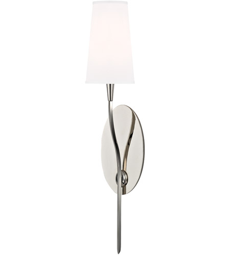 Hudson Valley 3711-PN-WS Rutland 1 Light 5 inch Polished Nickel Wall Sconce Wall Light in White Faux Silk photo