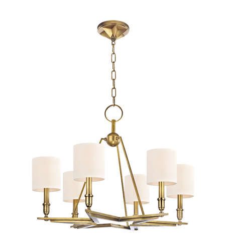 Hudson Valley Lighting Bethesda 6 Light Chandelier in Aged Brass with Eco Paper Shade 4086-AGB photo
