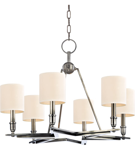 Hudson Valley Lighting Bethesda 6 Light Chandelier in Aged Silver with Eco Paper Shade 4086-AS photo