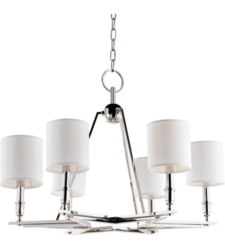 Hudson Valley 4086-PN-WS Bethesda 6 Light 31 inch Polished Nickel Chandelier Ceiling Light in White Faux Silk photo