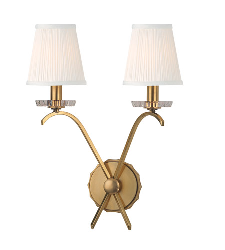 Hudson Valley Lighting Clyde 2 Light Wall Sconce in Aged Brass 4482-AGB photo