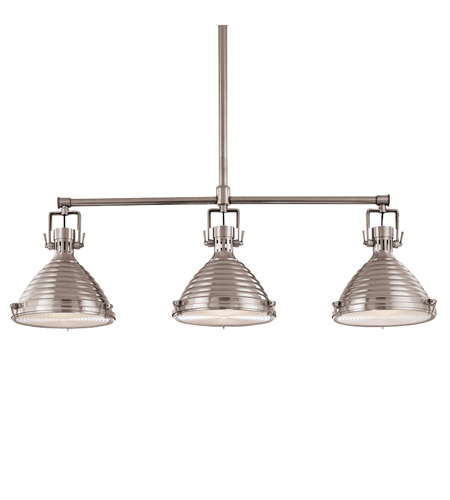 Hudson Valley 5123-PN Naugatuck 3 Light 44 inch Polished Nickel Island Light Ceiling Light photo