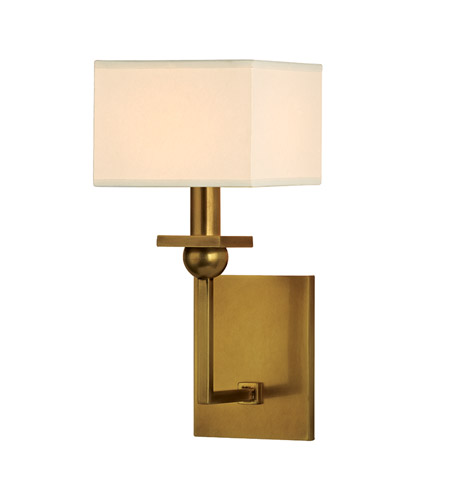 Hudson Valley 5211-AGB Morris 1 Light 6 inch Aged Brass Wall Sconce Wall Light in Eco Paper  photo
