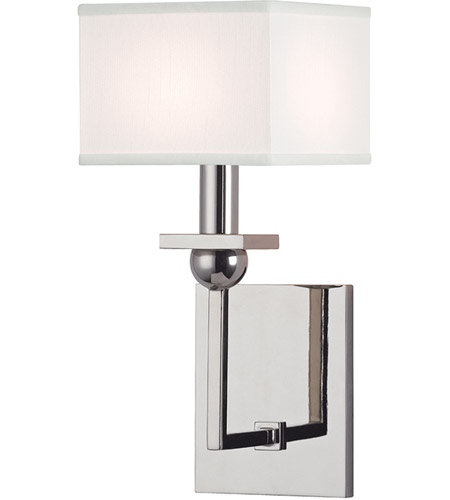Hudson Valley 5211-PN-WS Morris 1 Light 6 inch Polished Nickel Wall Sconce Wall Light in White Faux Silk photo