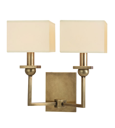 Hudson Valley 5212-AGB Morris 2 Light 13 inch Aged Brass Wall Sconce Wall Light in Eco Paper photo