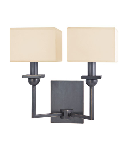 Hudson Valley 5212-OB Morris 2 Light 13 inch Old Bronze Wall Sconce Wall Light in Eco Paper photo