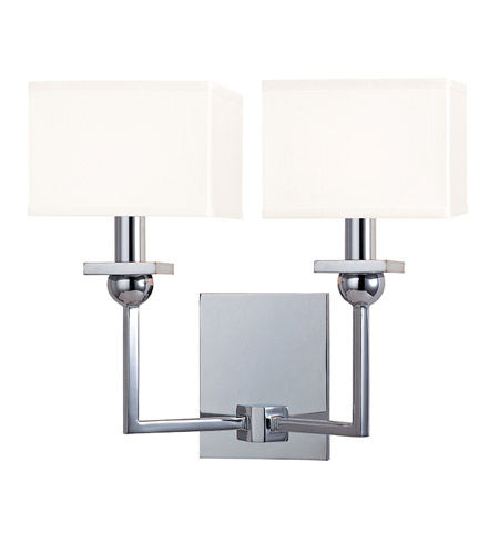 Hudson Valley 5212-PC-WS Morris 2 Light 13 inch Polished Chrome Wall Sconce Wall Light in White Faux Silk photo