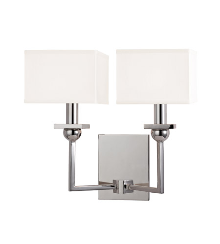 Hudson Valley 5212-PN-WS Morris 2 Light 13 inch Polished Nickel Wall Sconce Wall Light in White Faux Silk photo