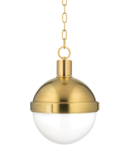Hudson Valley 612-AGB Lambert 1 Light 13 inch Aged Brass Pendant Ceiling Light  photo