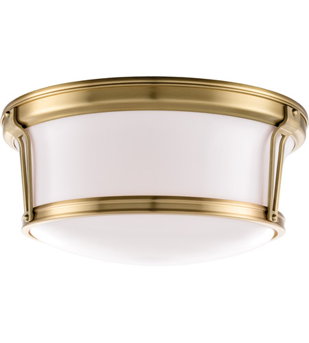 Hudson Valley 6515-AGB Newport Flush 3 Light 15 inch Aged Brass Flush Mount Ceiling Light photo
