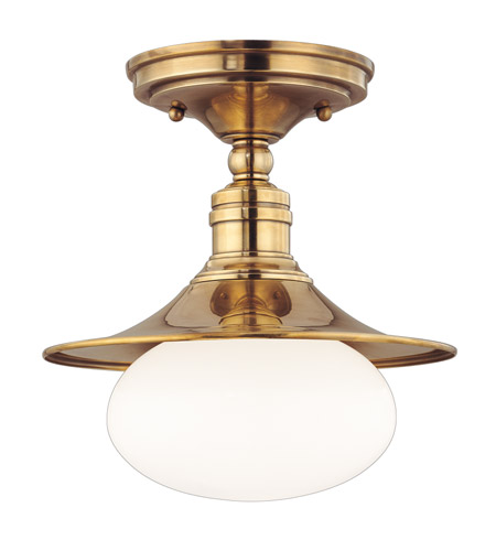 Hudson Valley 6711-AGB Lawton 1 Light 10 inch Aged Brass Semi Flush Ceiling Light photo