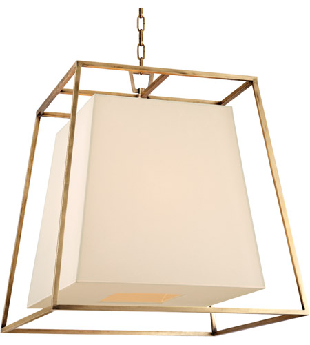 Hudson Valley Lighting Kyle 6 Light Chandelier in Aged Brass with Eco Paper Shade 6924-AGB photo