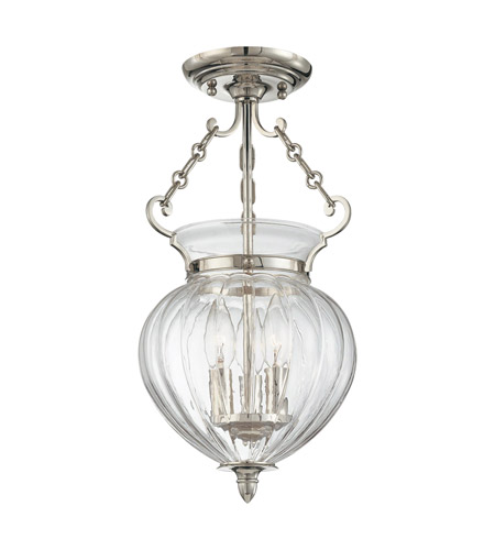Hudson Valley 780-PN Gardner 3 Light 9 inch Polished Nickel Semi Flush Ceiling Light photo