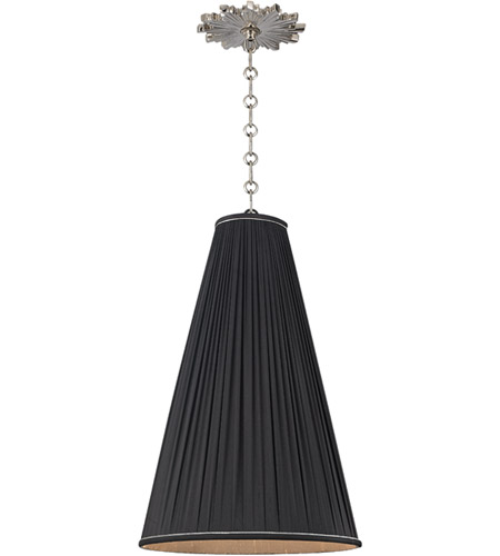 Hudson Valley Lighting Blake 1 Light Pendant in Polished Nickel with Black Silk Shade 7814-PN-B photo