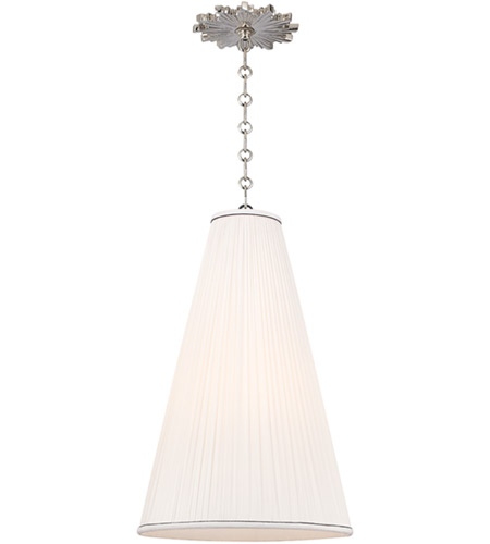 Hudson Valley 7814-PN-N Blake 1 Light 14 inch Polished Nickel Pendant Ceiling Light in Natural Silk photo