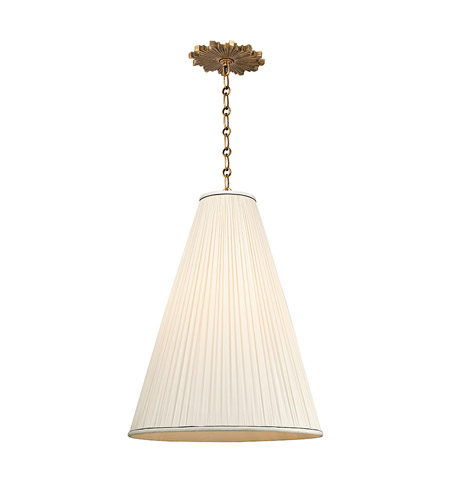 Hudson Valley 7818-AGB-N Blake 1 Light 18 inch Aged Brass Pendant Ceiling Light in Natural Silk photo