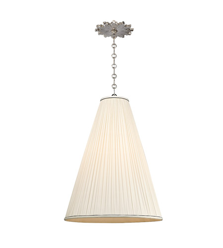 Hudson Valley 7818-PN-N Blake 1 Light 18 inch Polished Nickel Pendant Ceiling Light in Natural Silk photo