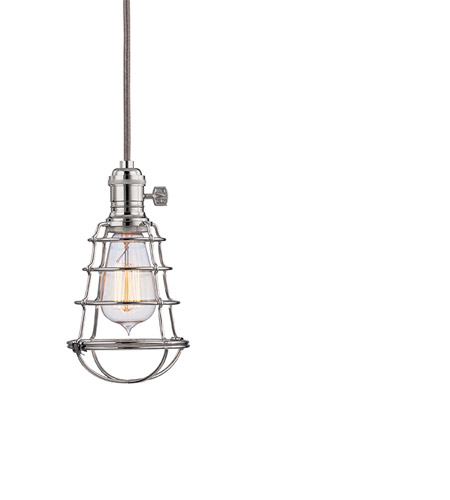 Hudson Valley Lighting Heirloom 1 Light Pendant in Polished Nickel with Wire Bulb Guard 8001-PN-WG photo