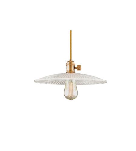 Hudson Valley Lighting Heirloom 1 Light Pendant in Aged Brass with Clear Glass Shade 8002-AGB-GM4 photo